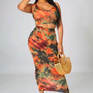 Orange and Green Tie Dye High Waist Skirt Set